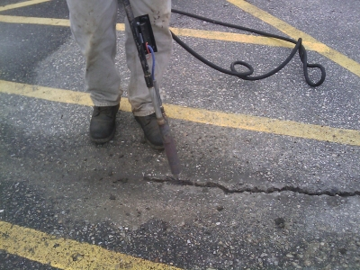 Sealcoating a Parking Lot